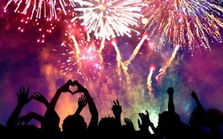 Crowd-of-people-enjoying-firework-display
